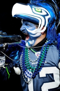 Portraits of Seattle Seahawks fans before their winning game against the Detroit Lions Sunday November 8, 2009 at Qwest Field in Seattle, WA.